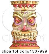 Clipart Of A Sketched Tiki Head Royalty Free Vector Illustration