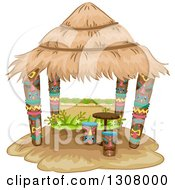 Clipart Of A Tiki Hut With Stools And A Table Royalty Free Vector Illustration