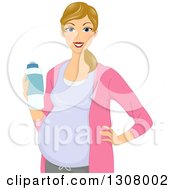 Clipart Of A Happy Dirty Blond White Pregnant Woman Holding A Water Bottle Royalty Free Vector Illustration