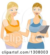 Clipart Of A Blond White Pregnant Woman Working Out With A Personal Trainer Royalty Free Vector Illustration