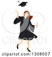 Brunette White High School Graduate Girl Tossing Up Her Cap