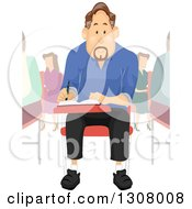 Clipart Of A Brunette Middle Aged College Student Man Writing At A Desk Royalty Free Vector Illustration