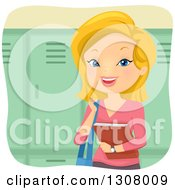 Clipart Of A Happy Blond White Female College Student Holding A Book By Lockers Royalty Free Vector Illustration by BNP Design Studio