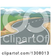 Clipart Of A Curving Road Through A Landscape Of Hills Royalty Free Vector Illustration