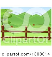Clipart Of A Wooden Farm Pasture Fence With Lush Green Hills In The Background Royalty Free Vector Illustration