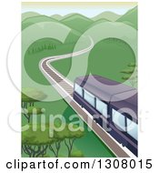Clipart Of A Trail Traveling Towards Mountains Through A Valley Royalty Free Vector Illustration