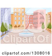 Clipart Of A Water Fountain In The Middle Of A Courtyard Royalty Free Vector Illustration