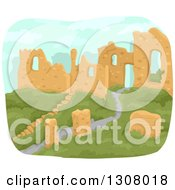 Clipart Of A Hillside Ancient City In Ruins Royalty Free Vector Illustration by BNP Design Studio