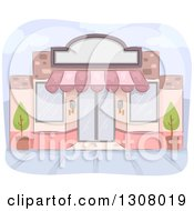 Clipart Of A Pink Store Front Building Royalty Free Vector Illustration by BNP Design Studio