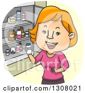 Cartoon Red Haired White Woman Looking At Pill Bottles In A Medicine Cabinet