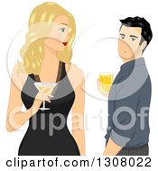 Clipart Of A Blond White Woman Holding A Cocktail And Looking Back At A Handsome Man Royalty Free Vector Illustration by BNP Design Studio