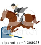 Young White Female Equestrian Leaping A Horse Over A Bar