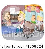 Cartoon Blond White Man On A Shopping Spree