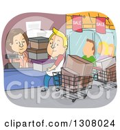 Clipart Of A Cartoon Blond White Man On A Shopping Spree Royalty Free Vector Illustration