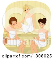 Group Of Female Friends Talking In A Sauna
