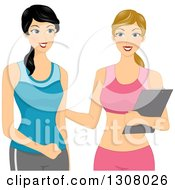 Clipart Of A Caucasian Woman Talking With Her Personal Trainer Royalty Free Vector Illustration