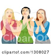 Three Excited Teenage Girls Gawking Upwards