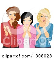 Clipart Of Three Excited Young Owmen Gawking Royalty Free Vector Illustration by BNP Design Studio