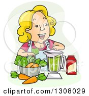 Cartoon Blond Happy White Woman Making A Vegetable Smoothie