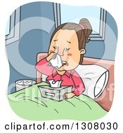 Clipart Of A Cartoon Sick Brunette White Woman Sneezing In Bed Royalty Free Vector Illustration