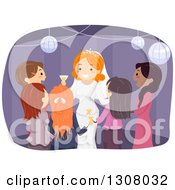 Clipart Of A Red Haired White Female Bride Surrounded By Guests At Her Wedding Reception Royalty Free Vector Illustration