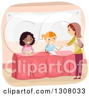 Clipart Of Teenage Girls Recruiting Members For A Club Royalty Free Vector Illustration by BNP Design Studio