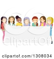 Clipart Of A Diverse Group Of Teenage Girls Holding A Blank Banner Royalty Free Vector Illustration