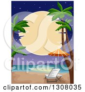 Clipart Of A Full Moon Over A Tropical Beach With Palm Trees And A Chair Royalty Free Vector Illustration by BNP Design Studio