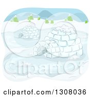 Clipart Of A Sketch Of Igloos In The Snow Royalty Free Vector Illustration by BNP Design Studio