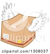 Clipart Of A Flying Winged Box Royalty Free Vector Illustration