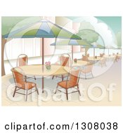 Clipart Of A Restaurant Patio Area With Seating And Al Fresco Dining Royalty Free Vector Illustration