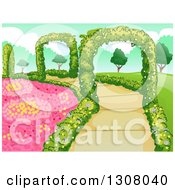 Clipart Of A Botanical Garden With Flowers Shrubs And Hedge Arches Royalty Free Vector Illustration