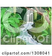 Clipart Of A Waterfall In A Lush Tropical Forest Royalty Free Vector Illustration
