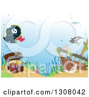 Clipart Of A Treasure Chest And Pirate Hat By A Sunken Ship Royalty Free Vector Illustration