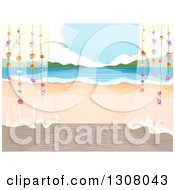 Clipart Of A Beach Cottage Porch With Sheer Curtains And A View Royalty Free Vector Illustration by BNP Design Studio