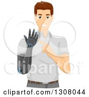 Clipart Of A Happy Brunette White Man Showing Off His Prosthetic Arm Royalty Free Vector Illustration