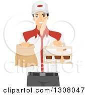Clipart Of A Young Asian Man Holding Takeout Food At A Restaurant Royalty Free Vector Illustration
