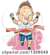 Clipart Of A Cartoon Brunette White Man Breaking Through A Race Ribbon Royalty Free Vector Illustration by BNP Design Studio
