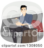 Clipart Of A Handsome Young Man Using A Tablet Computer In An Airport Lounge Royalty Free Vector Illustration