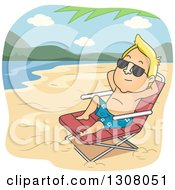 Clipart Of A Relaxed Blond White Man Sun Bathing On A Beach Royalty Free Vector Illustration
