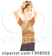 Clipart Of A Confused Brunette White Man Pulling His Hair Royalty Free Vector Illustration