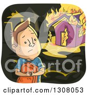 Clipart Of A Sad Brunette White Man Watching His House Burn Royalty Free Vector Illustration