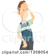 Clipart Of A Frustrated Brunette White Man Hitting His Head Royalty Free Vector Illustration