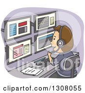 Clipart Of A Cartoon Brunette White Stock Analyst Man Tracking Events And Using Multiple Computer Screens Royalty Free Vector Illustration