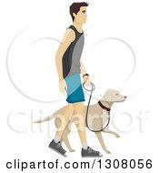 Clipart Of A Brunette White Man Walking His Labrador Dog Royalty Free Vector Illustration