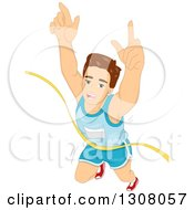 Clipart Of A Brunette Caucasian Marathon Runner Breaking Through The Finish Line Royalty Free Vector Illustration
