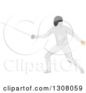 Clipart Of A Male Sword Fighter Fencer In Action Royalty Free Vector Illustration by BNP Design Studio