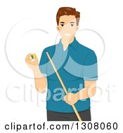 Clipart Of A Brunette Young White Man Holding A Billiard Ball And Cue Stick Royalty Free Vector Illustration