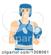 Clipart Of A Caucasian Young Male Athlete Boxer In Gear Royalty Free Vector Illustration by BNP Design Studio