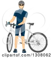 Clipart Of A White Male Cyclist Standing By His Bicycle Royalty Free Vector Illustration